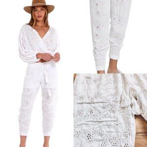 Young Fabulous & Broke White Eyelet Pants/ Joggers